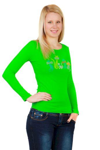 Glara Dámské bavlněné tričko s dlouhým rukávem 34056