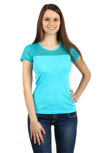 Glara Dámské triko s průsvitným vrškem 48074