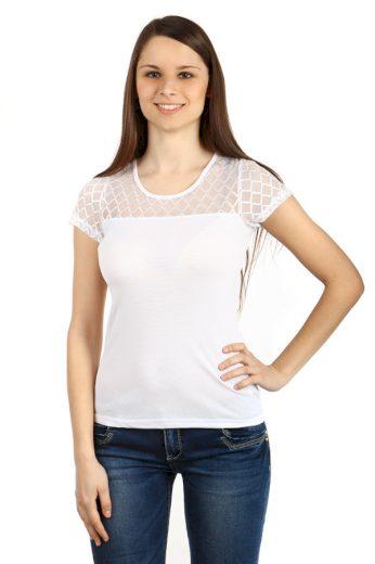 Glara Dámské triko s průsvitným vrškem 48075