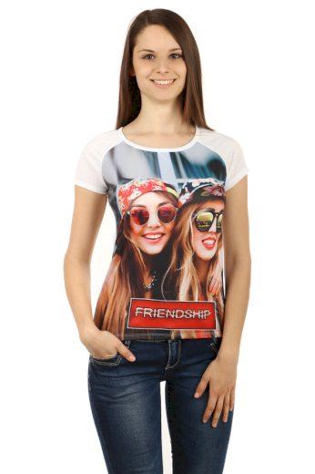 Glara Dámské tričko s krátkým rukávem a nápisem friendship 51172