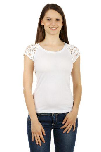 Glara Dámské triko s krajkovými rukávy 54257