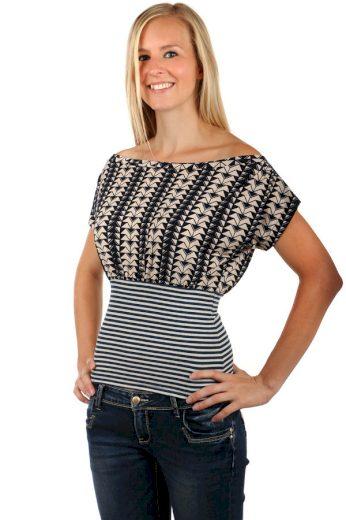 Glara Dámské bavlněné elegantní tričko s pruhy a zúženým pasem 66379