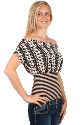 Glara Dámské bavlněné elegantní tričko s pruhy a zúženým pasem 66384