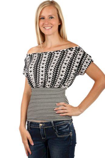 Glara Dámské bavlněné elegantní tričko s pruhy a zúženým pasem 66388