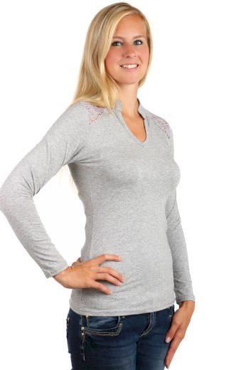 Glara Dámské bavlněné tričko s kamínky a krajkou 76301