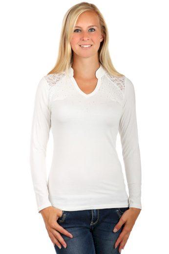 Glara Dámské bavlněné tričko s kamínky a krajkou 76304