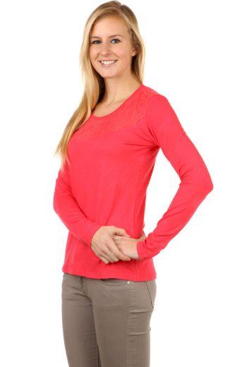 Glara Dámské krajkové bavlněné tričko s dlouhým rukávem 95059