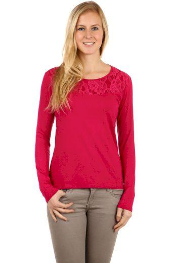 Glara Dámské krajkové bavlněné tričko s dlouhým rukávem 95064