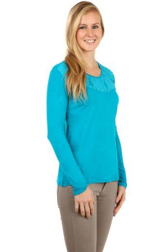 Glara Dámské krajkové bavlněné tričko s dlouhým rukávem 95068