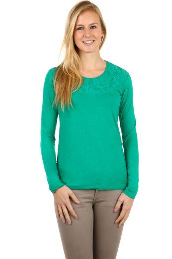 Glara Dámské krajkové bavlněné tričko s dlouhým rukávem 95071