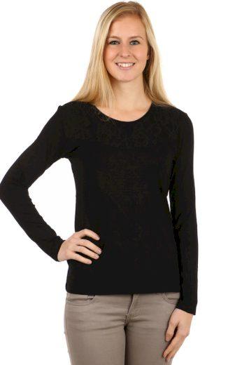 Glara Dámské krajkové bavlněné tričko s dlouhým rukávem 95075