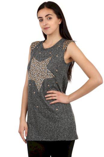 Glara Dámské dlouhé tričko s kamínkovým potiskem 106862