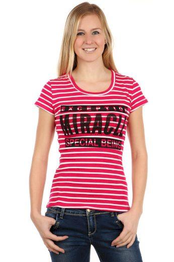 Glara Dámské proužkované tričko s krátkým rukávem a s potiskem 108092