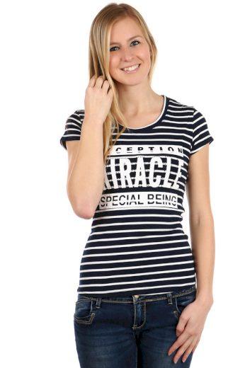 Glara Dámské proužkované tričko s krátkým rukávem a s potiskem 108098