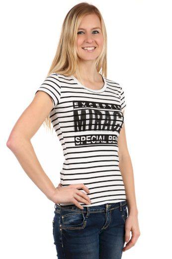Glara Dámské proužkované tričko s krátkým rukávem a s potiskem 108100