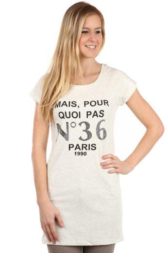 Glara Dámské prodloužené tričko s nápisem Paris 108130