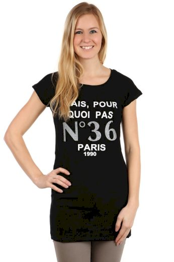 Glara Dámské prodloužené tričko s nápisem Paris 108132