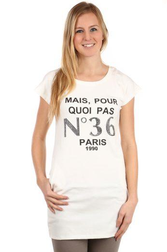 Glara Dámské prodloužené tričko s nápisem Paris 108134