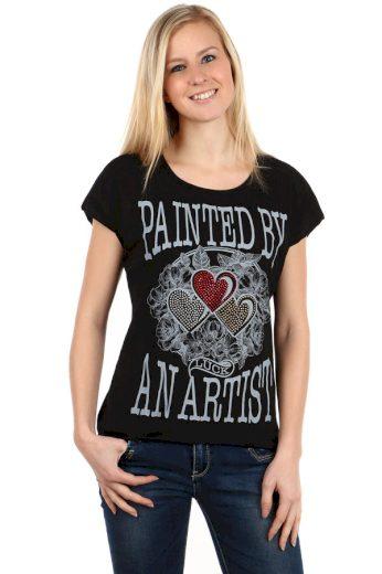 Glara Dámské bavlněné tričko s krátkým rukávem a potiskem 112519