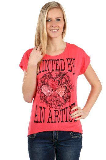 Glara Dámské bavlněné tričko s krátkým rukávem a potiskem 112520