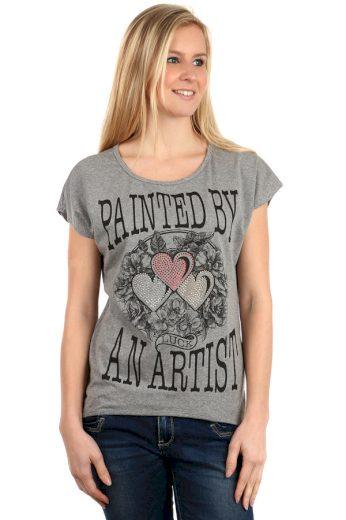 Glara Dámské bavlněné tričko s krátkým rukávem a potiskem 112522