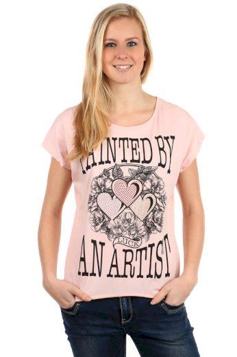 Glara Dámské bavlněné tričko s krátkým rukávem a potiskem 112523