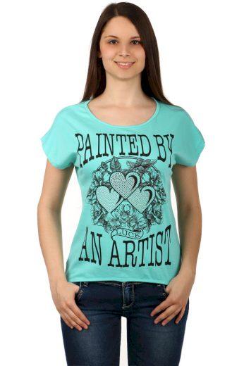 Glara Dámské bavlněné tričko s krátkým rukávem a potiskem 124539
