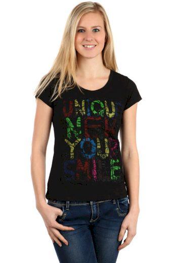 Glara Dámské barevné triko s nápisy 112631