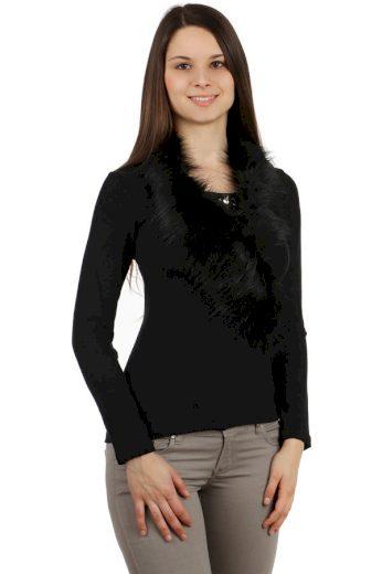 Glara Dámské společenské tričko s kožešinou a broží 112886
