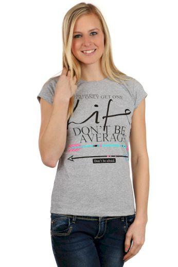 Glara Dámské bavlněné tričko s krátkým rukávem a s potiskem 116943
