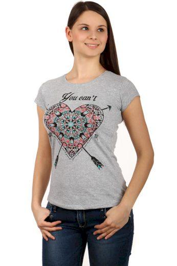 Glara Dámské bavlněné tričko s potiskem srdce a krátkými rukávy 124141