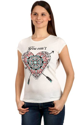 Glara Dámské bavlněné tričko s potiskem srdce a krátkými rukávy 124147