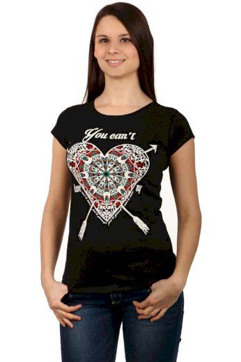 Glara Dámské bavlněné tričko s potiskem srdce a krátkými rukávy 124150