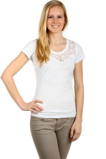 Glara Dámské krajkové tričko 126525