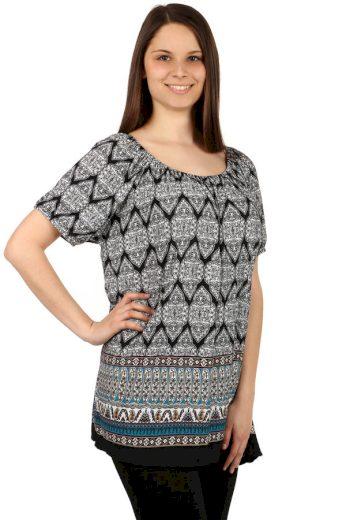 Glara Dámské pohodlné volné vzorované tričko 128825