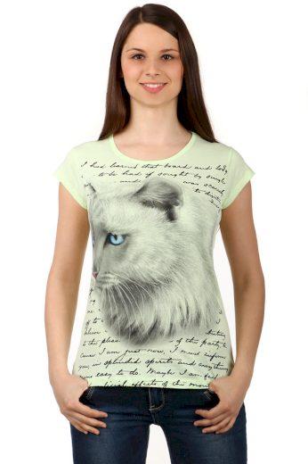Glara Příjemné bavlněné dámské tričko s krátkým rukávem a zvířecím potiskem 133983