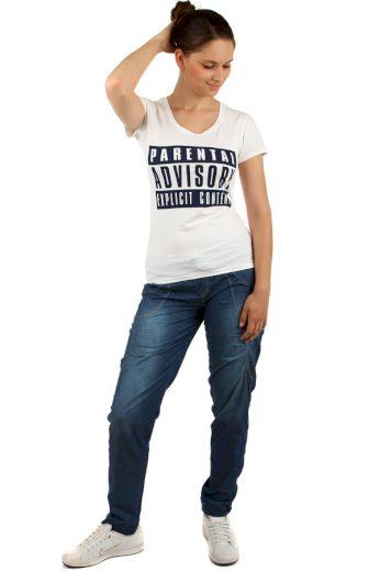 Glara Jednoduché dámské bavlněné tričko s potiskem a krátkým rukávem 144071