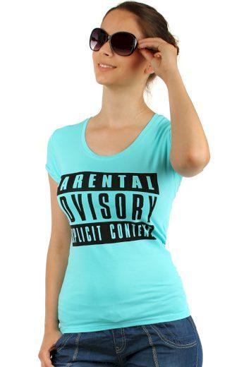 Glara Jednoduché dámské bavlněné tričko s potiskem a krátkým rukávem 144077