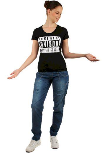 Glara Jednoduché dámské bavlněné tričko s potiskem a krátkým rukávem 144081