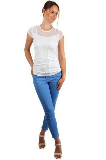 Glara Dámské síťované bavlněné tričko s krátkým rukávem 149220