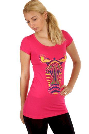 Glara Dámské dlouhé tričko s potiskem zebry 220697
