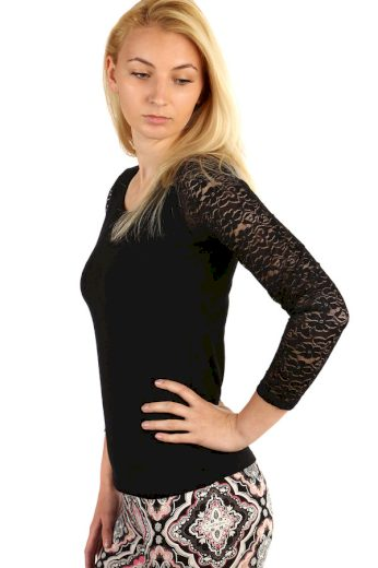 Glara Dámské tričko s krajkovými rukávy 220780