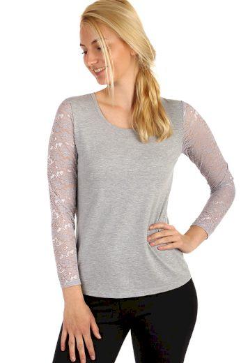Glara Dámské tričko s krajkovými rukávy 220783