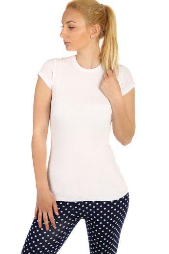 Glara Dámské jednobarevné bavlněné tričko s krátkým rukávem 220807