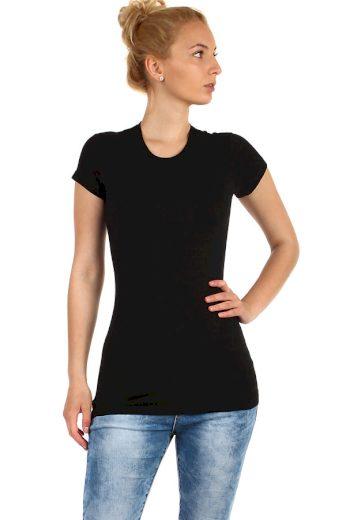Glara Dámské jednobarevné bavlněné tričko s krátkým rukávem 220813