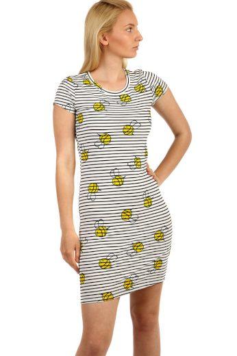 Glara Dámské dlouhé bavlněné tričko s pruhovaným vzorem a krátkým rukávem 222049