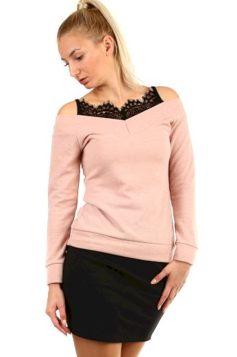 Glara Originální dámské krajkové tričko 404334