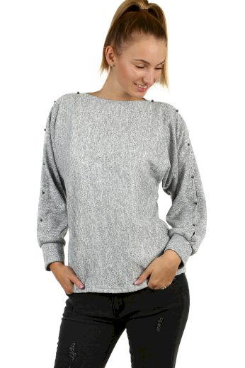 Glara Dámské mikinové tričko melírované 497324