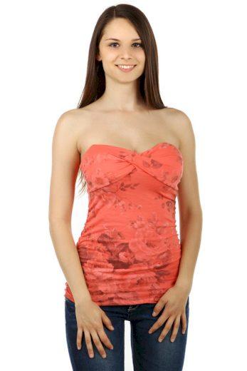 Glara Květinový dámský top bez ramínek 58004