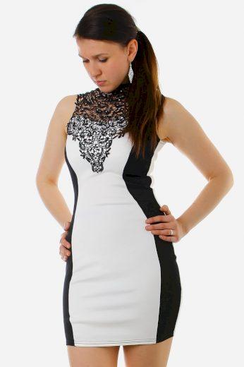 Glara Černo-bílé šaty se zeštíhlujícím efektem 8693